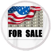 America For Sale Round Beach Towel
