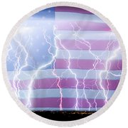 America The Powerful Round Beach Towel by James BO  Insogna