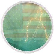 America Walk The Line  Round Beach Towel by James BO  Insogna