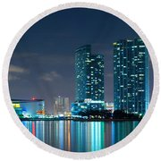 American Airlines Arena And Condominiums Round Beach Towel