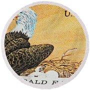 American Bald Eagle Vintage Postage Stamp Print Round Beach Towel
