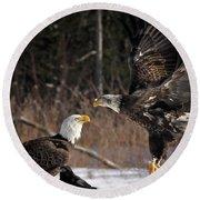 American Bald Eagles Round Beach Towel