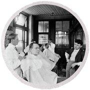 American Barbershop, C1900 Round Beach Towel