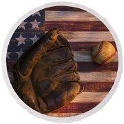 American Baseball Round Beach Towel