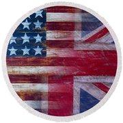 American British Flag Round Beach Towel by Garry Gay