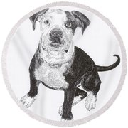 American Bull Dog As A Pup Round Beach Towel