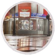 American Coney In Detroit At Night Round Beach Towel