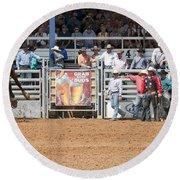 American Cowboy Bucking Rodeo Bronc Round Beach Towel