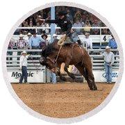 American Cowboy Riding Bucking Rodeo Bronc I Round Beach Towel