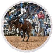 American Cowboy Riding Bucking Rodeo Bronc II Round Beach Towel