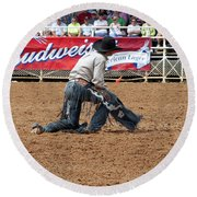 American Cowboy Thrown From A  Bucking Rodeo Bronc Round Beach Towel