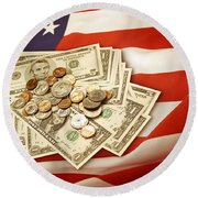 American Currency  Round Beach Towel by Les Cunliffe
