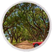 American Dream Drive 2 Round Beach Towel
