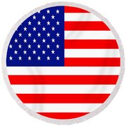American Flag . Square Round Beach Towel