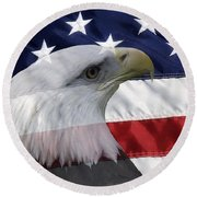 American Flag And Bald Eagle Round Beach Towel by Jill Lang