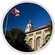 American Flag And Hoover Tower Stanford University Round Beach Towel