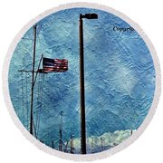 American Flag As A Painting Round Beach Towel