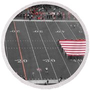 American Flag At Paul Brown Stadium Round Beach Towel by Dan Sproul