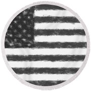 American Flag Charcoal Round Beach Towel