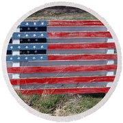 American Flag Country Style Round Beach Towel