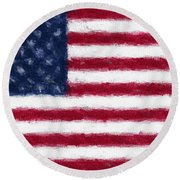American Flag Embossed Round Beach Towel