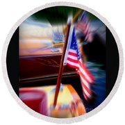 American Flag Focus Round Beach Towel