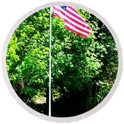 American Flag - Honoring John Round Beach Towel by Tap On Photo