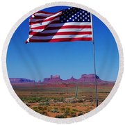 American Flag In Monument Valley Round Beach Towel