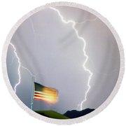 American Flag Lightning Strikes Round Beach Towel