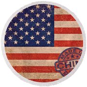 American Flag Made In China Round Beach Towel