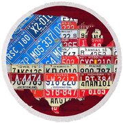 American Flag Map Of The United States In Vintage License Plates Round Beach Towel