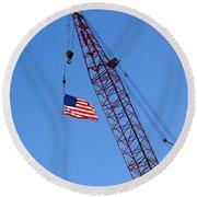 American Flag On Construction Crane Round Beach Towel