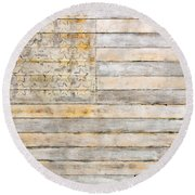 American Flag On Distressed Wood Beams White Yellow Gray And Brown Flag Round Beach Towel