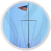 American Flag On Mast Round Beach Towel
