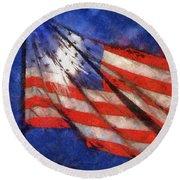 American Flag Photo Art 02 Round Beach Towel