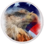 American Flag Photo Art 03 Round Beach Towel