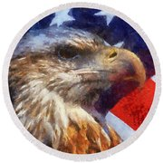 American Flag Photo Art 04 Round Beach Towel