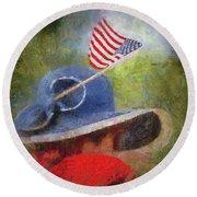 American Flag Photo Art 06 Round Beach Towel