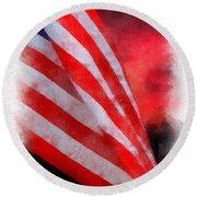 American Flag Photo Art 07 Round Beach Towel