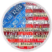 American Flag Recycled License Plate Art Round Beach Towel