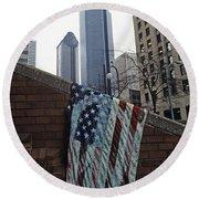 American Flag Tattered Round Beach Towel