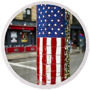 American Flag Tiles Round Beach Towel