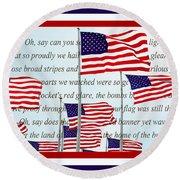 American Flag Tribute  Round Beach Towel