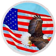 American Flag With Bald Eagle Round Beach Towel
