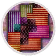 American Flags Round Beach Towel by Tony Rubino