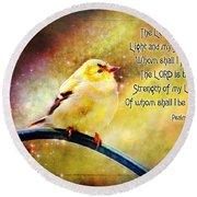American Goldfinch Gazes Upward  - Series II  Digital Paint With Verse Round Beach Towel