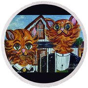 American Gothic Cats - A Parody Round Beach Towel