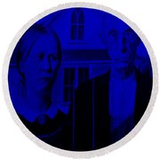 American Gothic In Blue Round Beach Towel