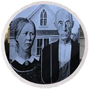 American Gothic In Colors Round Beach Towel