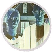 American Gothic In Negative Round Beach Towel